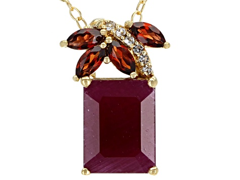 Red Ruby 18k Gold Over Silver Pendant with Chain 2.30ctw
