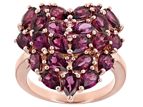 Raspberry Color Rhodolite 18k Rose Gold Over Sterling Silver Ring 4.95ctw