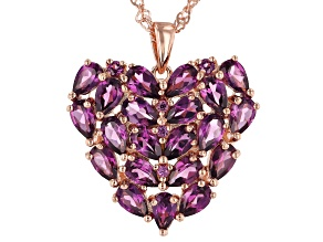 Raspberry color rhodolite 18k gold over silver pendant with chain 4.59ctw