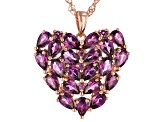 Raspberry color rhodolite 18k gold over silver pendant with chain 4.95ctw