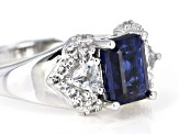 Blue kyanite rhodium over silver ring 1.49ctw