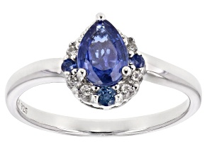 Blue kyanite rhodium over silver ring .90ctw