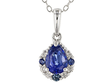 Blue kyanite rhodium over silver pendant with chain .91ctw