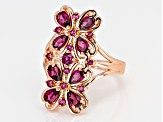 Raspberry color rhodolite 18k rose gold over silver ring 2.21ctw