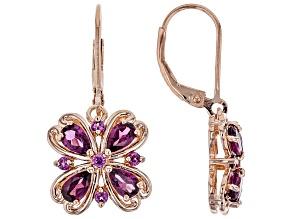 Raspberry Color Rhodolite 18k Rose Gold Over Sterling Silver Earrings 2.03ctw