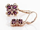 Raspberry Color Rhodolite 18k Rose Gold Over Sterling Silver Earrings 2.03ctw