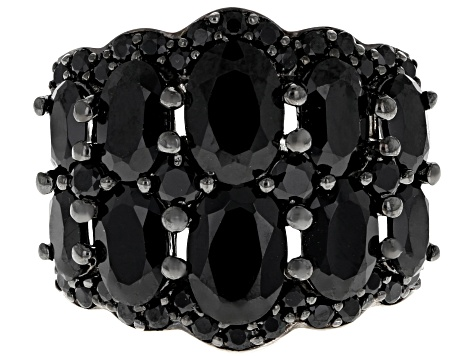 Black spinel rhodium over sterling silver ring 5.41ctw