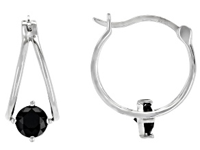 Black spinel rhodium over sterling silver hoop earrings 1.09ctw