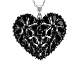 Black spinel rhodium over silver pendant with chain 7.91ctw