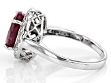 Red ruby rhodium over sterling silver ring 3.41ctw