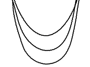 Black Spinel rhodium over silver 3-strand necklace 51.00ctw