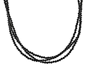 Black Spinel rhodium over silver 3-strand necklace 59.50ctw