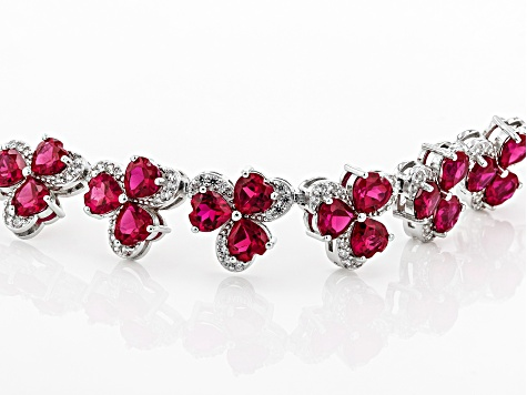 Red lab ruby rhodium over silver bracelet 22.56ctw