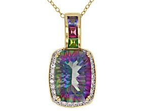 Multi-Color Quartz 18k Yellow Gold Over Silver Pendant with Chain 6.19ctw