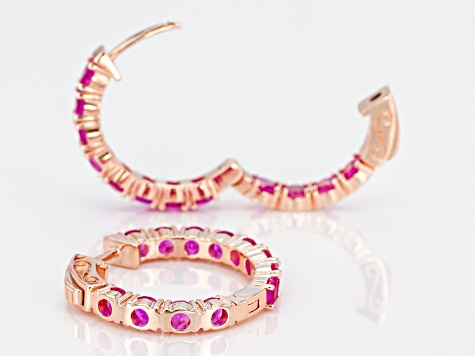 Pink lab sapphire 18k rose gold over silver hoop earrings  2.86ctw