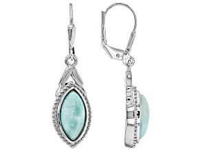 Blue larimar rhodium over silver earrings