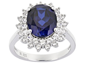 Blue lab created sapphire rhodium over silver ring 4.77ctw