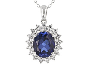 Blue lab created sapphire rhodium over silver pendant with chain 4.77ctw