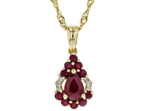 Red ruby 18k  yellow gold over silver pendant with chain 1.16ctw