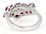 Red ruby rhodium over silver ring 2.54ctw