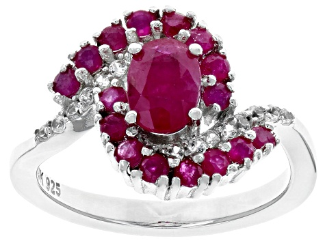 Red ruby rhodium over silver ring 1.72ctw