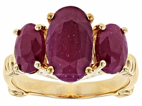 Red ruby 18k yellow gold over silver 3-stone ring 5.75ctw