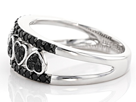 Black spinel rhodium over silver band ring. .39ctw
