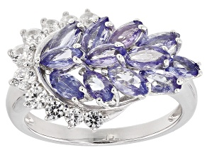 Blue tanzanite rhodium over silver ring 2.13ctw