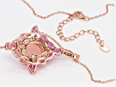 Pink Peruvian opal 18k rose gold over silver pendant/enhancer with chain 3.23ctw