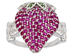 Pink Lab Sapphire Rhodium Over Silver Strawberry Ring 1.52ctw