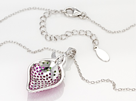 Pink Lab Sapphire Rhodium Over Silver Strawberry  Pendant with Chain 1.52ctw
