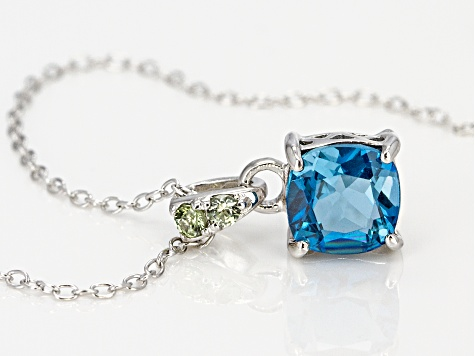 London blue topaz rhodium over silver pendant with chain 1.50ctw
