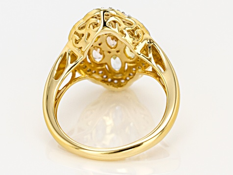 Mixed-Beryl 18k Gold Over Silver Ring 1.55ctw
