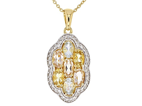 Mixed-Beryl 18k Gold Over Silver Pendant with Chain 1.55ctw