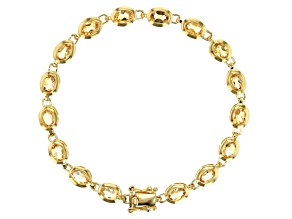 Yellow golden citrine 18k gold over silver bracelet 6.53ctw