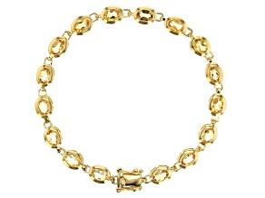 Yellow golden citrine 18k gold over silver bracelet 6.53ctw