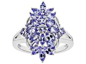 Blue tanzanite rhodium over sterling silver ring 1.31ctw