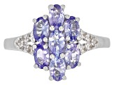 Blue tanzanite rhodium over sterling silver ring 1.49ctw
