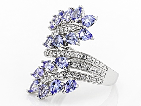 Blue tanzanite rhodium over sterling silver ring 2.54ctw