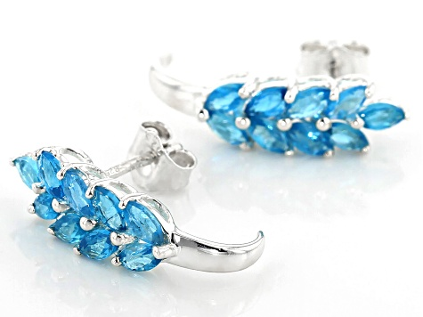 Blue neon apatite rhodium over sterling silver earrings