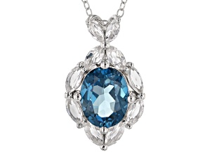 London blue topaz rhodium over silver pendant/slide/chain 4.28ctw