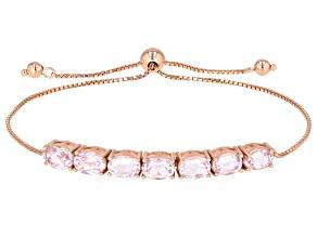 Pink kunzite 18k rose gold over silver bolo bracelet 6.65ctw