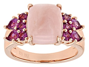 Pink Opal 18k Rose Gold Over Sterling Silver Ring 1.09ctw