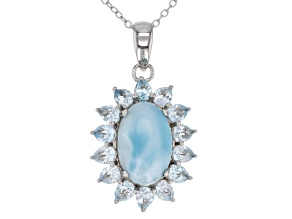 Blue Larimar Rhodium Over Silver Pendant with Chain 2.95ctw