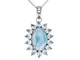 Blue Larimar Rhodium Over Silver Pendant with Chain 2.95ctw