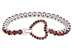 Red garnet rhodium over silver bracelet 18.90ctw