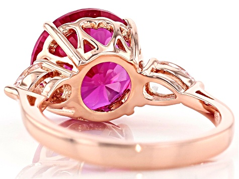 Lab pink sapphire 18k rose gold over silver ring 8.16ctw