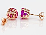 Lab created pink sapphire 18k rose gold over silver earrings 4.42ctw