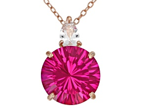 Lab created pink sapphire 18k rose gold over silver pendant with chain 7.52ctw