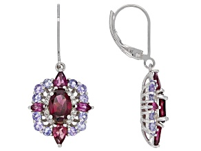 Raspberry Color Rhodolite Rhodium Over Sterling Silver Earrings 3.93ctw